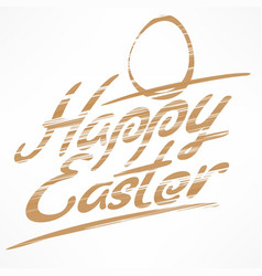 Happy easter bronze lettering vector