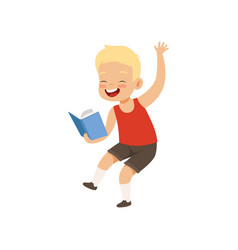 Happy smiling little boy having fun with book vector