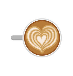 Heart drawing on latte cup of delicious coffee vector
