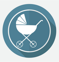 Icon baby carriages on white circle with a long vector