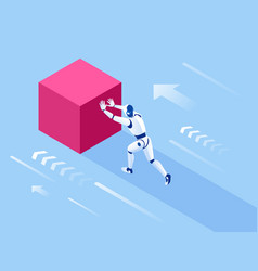 isometric robot pushing cubes robot easily moving vector image