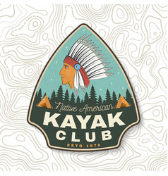 kayak club concept for patch badge vector image