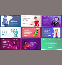 main web page set design website business vector image