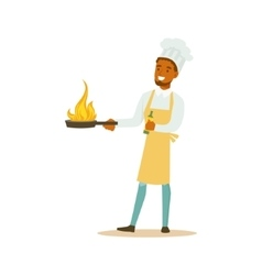 Man professional cooking chef working in vector