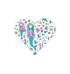 mermaid and sea set vector image