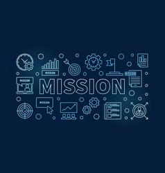 mission blue outline on dark vector image