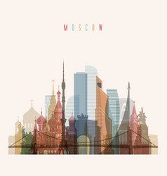 Moscow skyline detailed silhouette vector