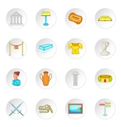 Museum icons set vector