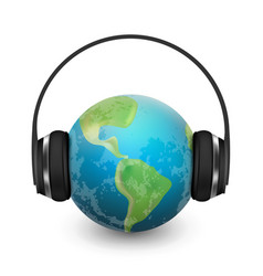 Music planet earth with headphones vector