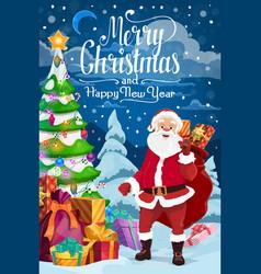 new year and christmas holidays santa claus vector image