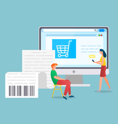 people use internet and gadget for online shopping vector image