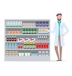 pharmacologist and pharmacy warehouse medical vector image