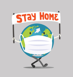 Planet earth comes with a banner stay home vector