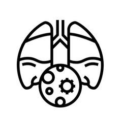 Pneumonia inflammation line icon vector