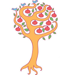 pomegranate tree - kids colorful vector image