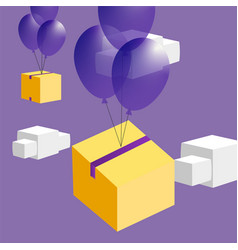 Promotion fly box on balloons vector