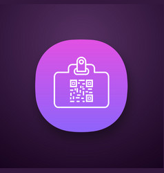 Qr code identification card app icon vector