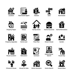 Real estate glyph icons 8 vector