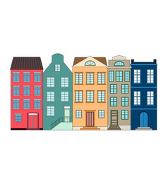 Row color houses vector