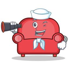 sailor red sofa character cartoon vector image
