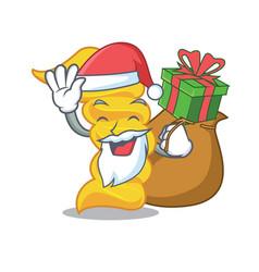 santa with gift fusilli pasta mascot cartoon vector image