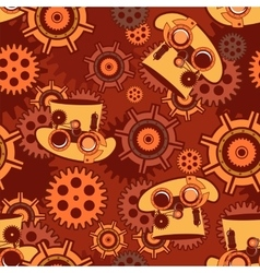 seamless pattern Steampunk mechanism vector image