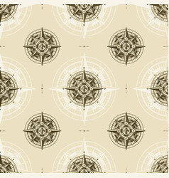 seamless vintage nautical wind rose pattern vector image