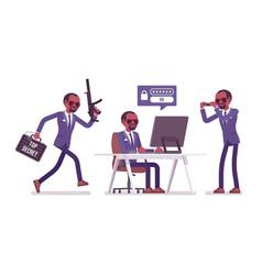 Secret agent black man gentleman spy of vector