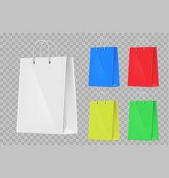 set colorful paper shopping bags vector image
