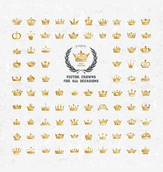 Set of geometric vintage crown vector