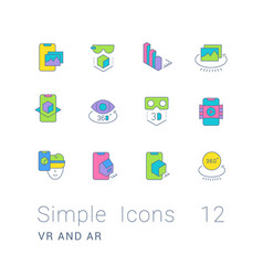 Set simple line icons vr and ar vector
