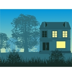 Silhouette of the building in wood in the morning vector