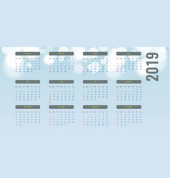 simple calendar layout for 2019 year bokeh vector image