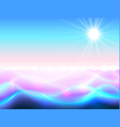 Sun and water paradise background magic ripple vector
