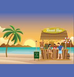 sunset at beach bar vector image