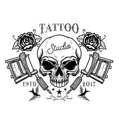 Tattoo studio emblem template crossed vector