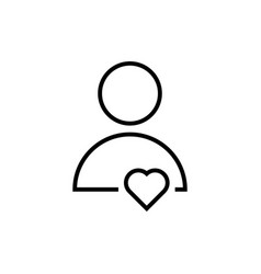 Thin line user icon with heart vector