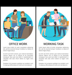 Two office work and working task bright cards vector