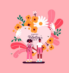 valentines day pink couple with heart and flowers vector image
