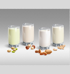 vegan nut milk in glass on transparent background vector image