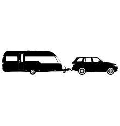 Vehicle towing a caravan silhouette vector
