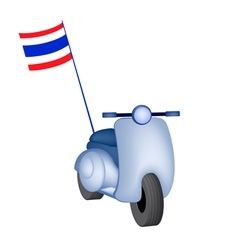Vintage Scooter with Thai Flag on White Background vector image