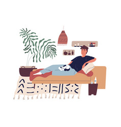 Young smiling man relaxing on sofa with cat on his vector