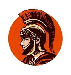 Ancient warrior in helmet symbol vector image