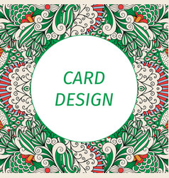 card design with floral green pattern vector image vector image