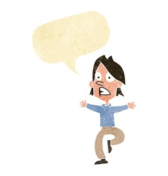 cartoon panicking man with speech bubble vector image vector image