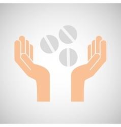 Hands pill medicine care icon vector