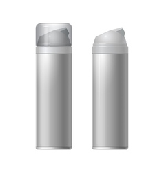 Shaving gel foam light gray With lid and without vector image vector image