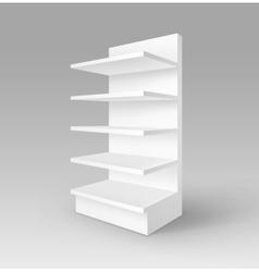 White Exhibition Trade Stand Rack with Shelves vector image