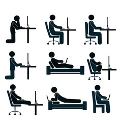 bad and good working position of the human at the vector image vector image